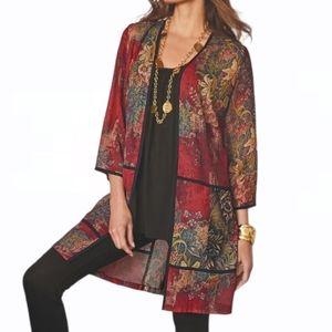 Soft Surroundings Patterned Piping Topper Kimono